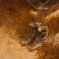 "Oxblood boots - 18 x 18""  oil on canvas - $850.00"