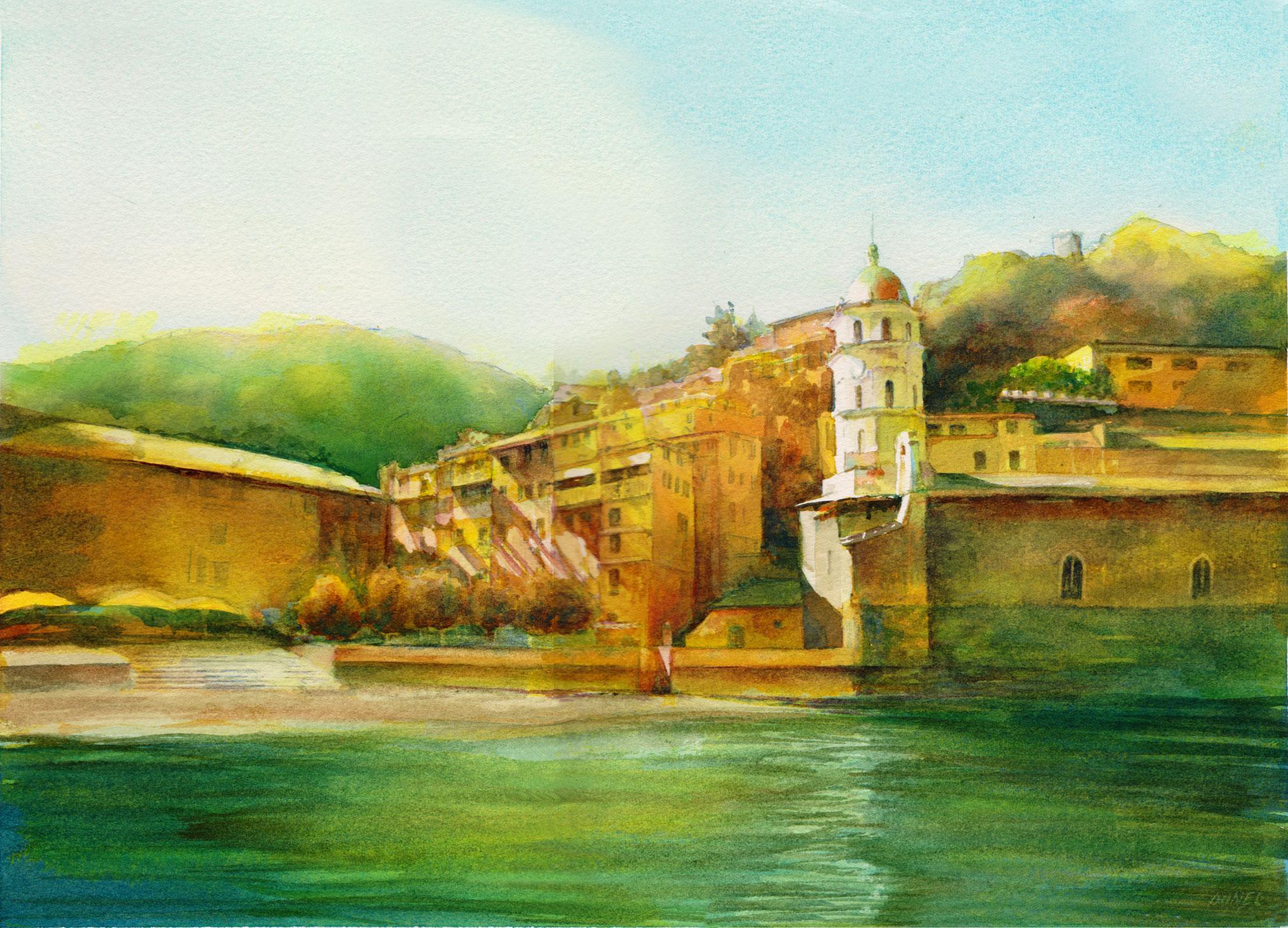 Cinque Terre - Watercolour  10 x 14\