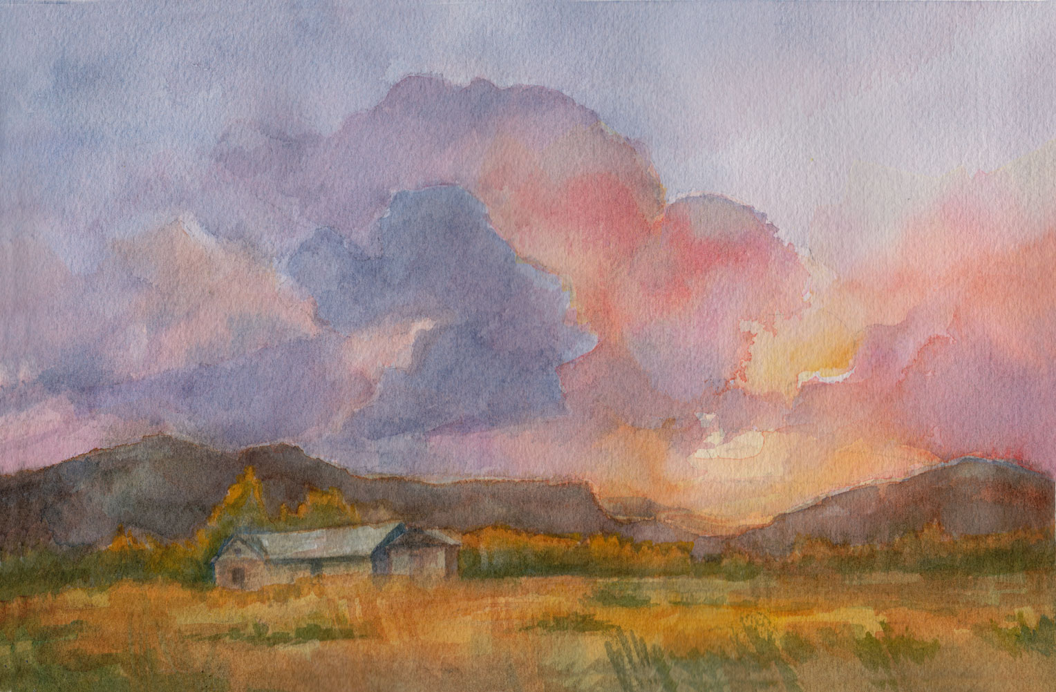 study for Sunset on the homestead - Watercolour 6.5 x 10\
