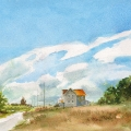 "Niagara-on-the-Lake Saturday afternoon Watercolour 9 x 13"" - $600.00"