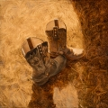 """Pair of boots - 18 x 18"""" oil on canvas - $850.00"""