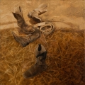 """Two pairs of boots - 18 x 18"""" oil on canvas - $850.00"""